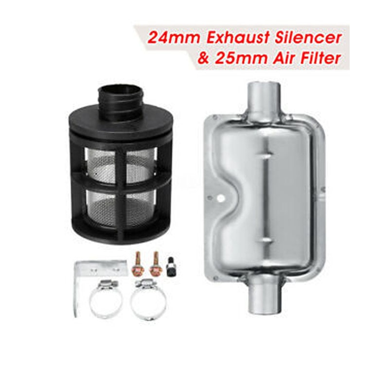 Car 25mm Air Filter + 24mm Exhaust Pipe Silencer Muffler Clamp Bracket Kit For Ebespacher Webasto Diesel Fuel Air Parking Heater