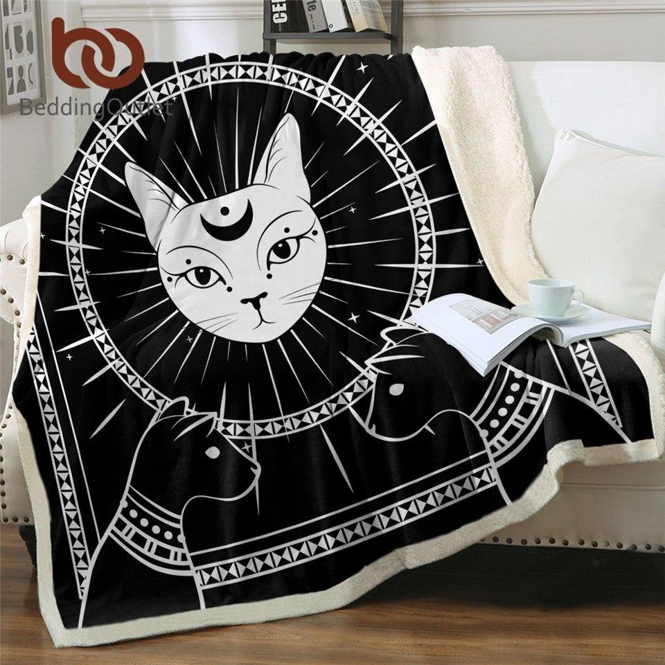 BeddingOutlet-بطانية قطة سوداء من القطيفة للسحر ، ونجوم القمر ، للأسرة ، مخصصة للقطط المصرية God