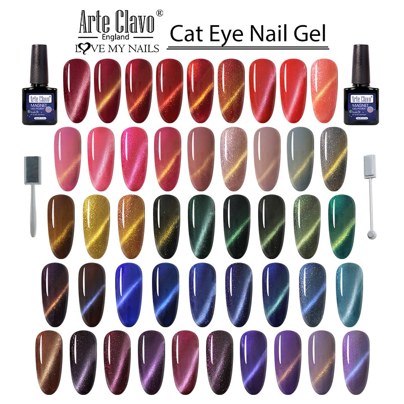 Arte Clavo 10ml Cat Eye Lacquer Nail Gel Lak Semi Permanent Nail Gel Varnish Polish Soak Off UV LED Nail Art Gel Nail Polish недорого