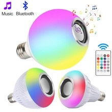 스마트 RGB LED 전구 무선 블루투스 스피커 음악 재생 스포트 라이트 램프 바 파티 무대 조명 원격 제어에 대 한 Led 빛