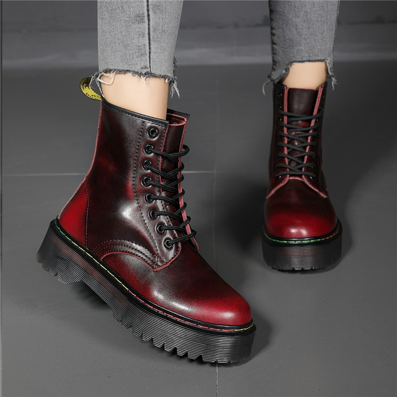 Women Ankle Boots Women Leather High Platform Boots Rainbow Motorcycle Womens Boots Botas De Mujer Winter Boots plus Size shoes