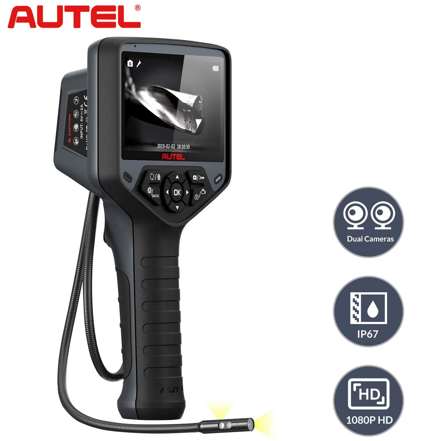 Autel MV480 الصناعية المنظار/Borescope ، عدسة مزدوجة 8.5 مللي متر التفتيش الكاميرا مع 7X التكبير ، 2MP ، كابل مقاوم للماء ، للسيارة/الجدار