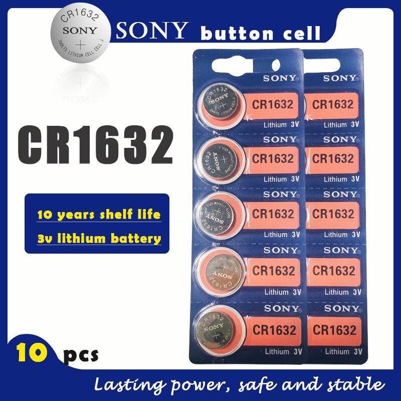10 unids/lote SONY Original CR1632 pila de botón 3V baterías de litio CR 1632 para reloj de juguete remoto ordenador calculadora Control