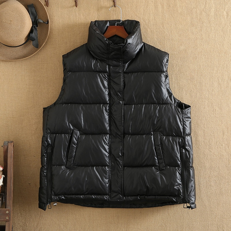 Plus Size Vest For Women Winter Wear Sleeveless Stand-Up Collar Large Size Fashionable Jacket With Pocket Zipper On The Side