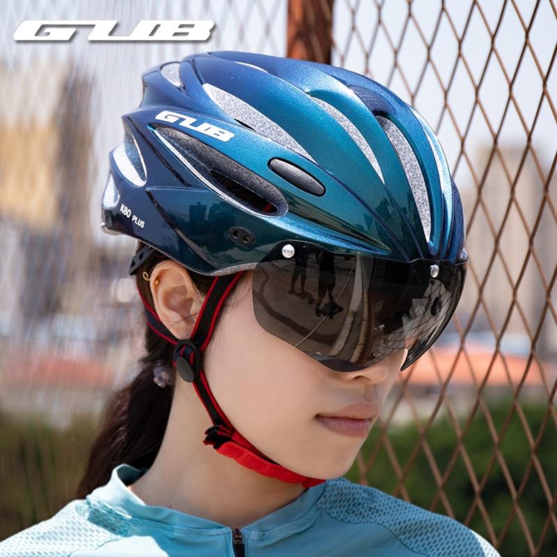 GUB K80 الدراجات خوذة مع قناع نظارات المغناطيسي متكاملة مصبوب 58-62 سنتيمتر للرجال النساء دراجة الطريق الجبلية خوذة الدراجة البخارية