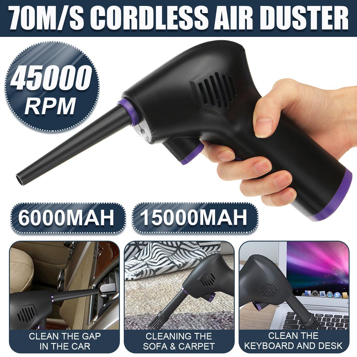 45000 RPM Cordless Air Duster Compressed Air Blower Cleaning Tool For Computer Laptop Keyboard Electronics Cleaning For Camera