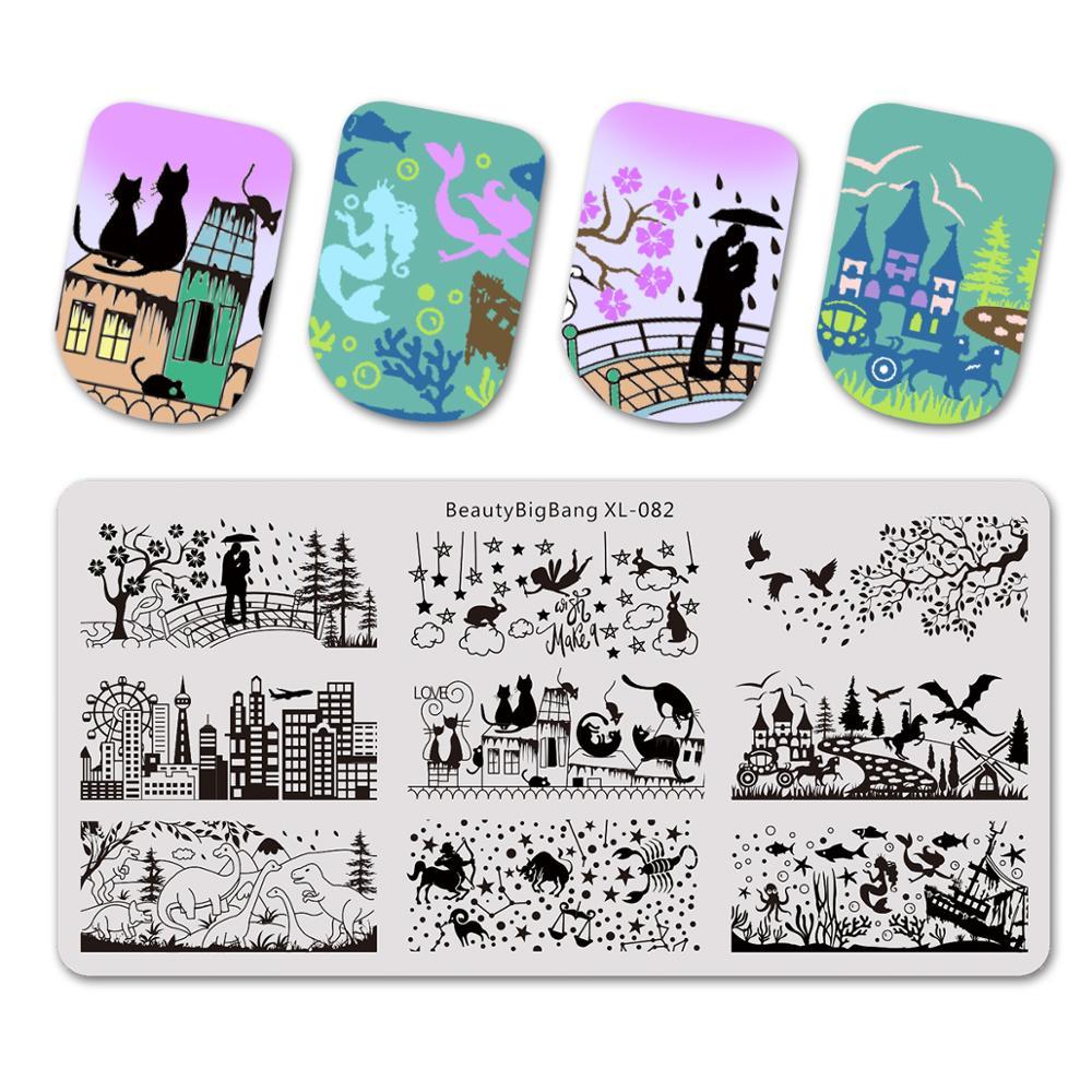 Пластины для стемпинга Beautybigbang, 6*12 см, пластина для стемпинга для нейл-арта, печать изображения, XL-082