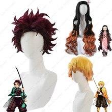 Cosroad Nezuko Tanjirou Kamado perruques démon Slayer Kimetsu No Yaiba Zenitsu Agatsuma cheveux Kimono Yukata Robe Anime Cosplay Costume