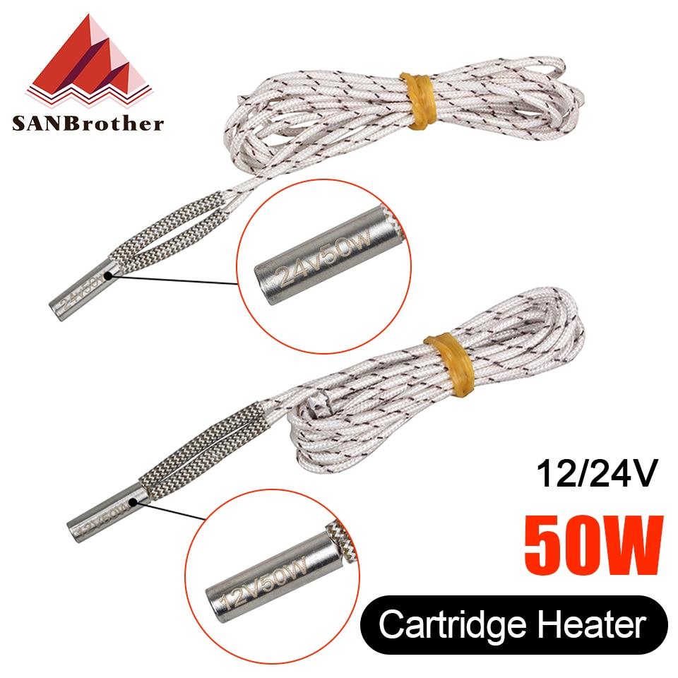 Tubo de calefacción 6*6*20mm 12V 24V 50W calentador de cerámica para cartuchos 1M 2M Reprap y Mendel para V6 J-extrusora 3D pieza de impresora