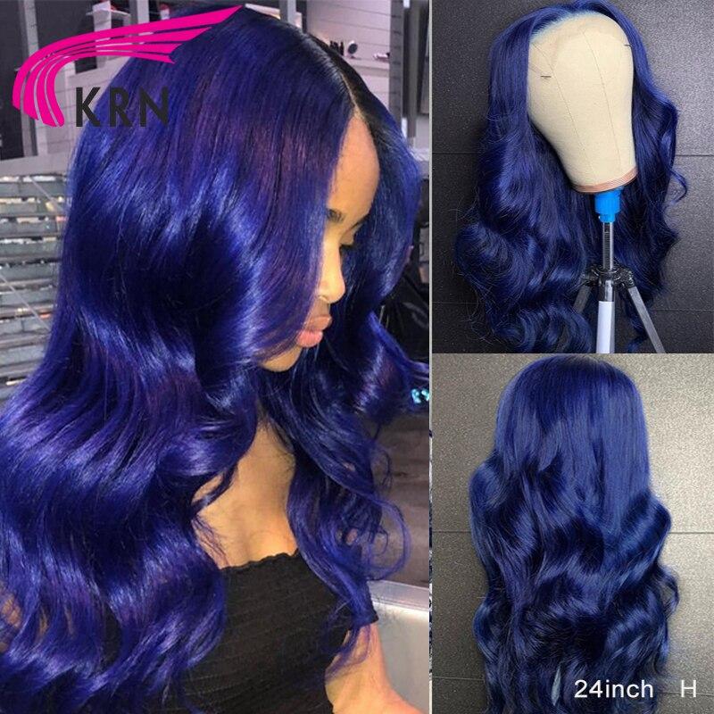 KRN bleu 13*4 dentelle avant perruques de cheveux humains 180 densité moyen rapport vague 360 dentelle frontale perruques pour les femmes