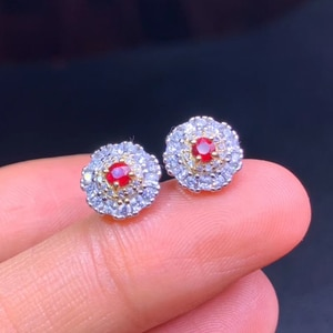 CoLife Jewelry Fashion Ruby Stud Earrings for Daily Wear 3mm Natural Ruby Earrings 925 Silver Ruby Jewelry Gift for Woman