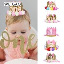 WEIGAO-casquettes décor pour fête danniversaire   1/2/3, chapeau de princesse pour un anniversaire, couronne pour anniversaire du bébé de 1er 2ème et 3ème ans, décor