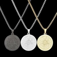 new trendy round rune pendant necklace mens and womens necklaces metal sliding round totem necklace accessories party jewelry