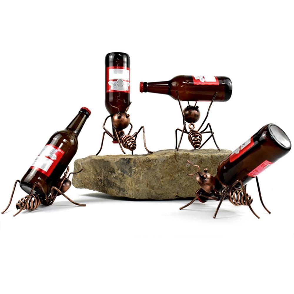 Creative Ant Wine Glass Holder Sculpture Closet Bar Display Stand Wine Bottle Rack Iron Metal Crafts Living Room Decorative