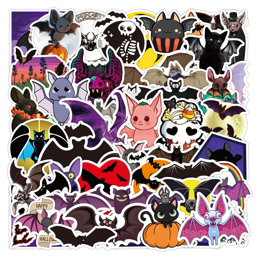 10/30/50PCS Animal Bat Chiroptera Stickers Halloween Decoration for DIY Stationery Laptop Suitcase Skateboard Waterproof Sticker