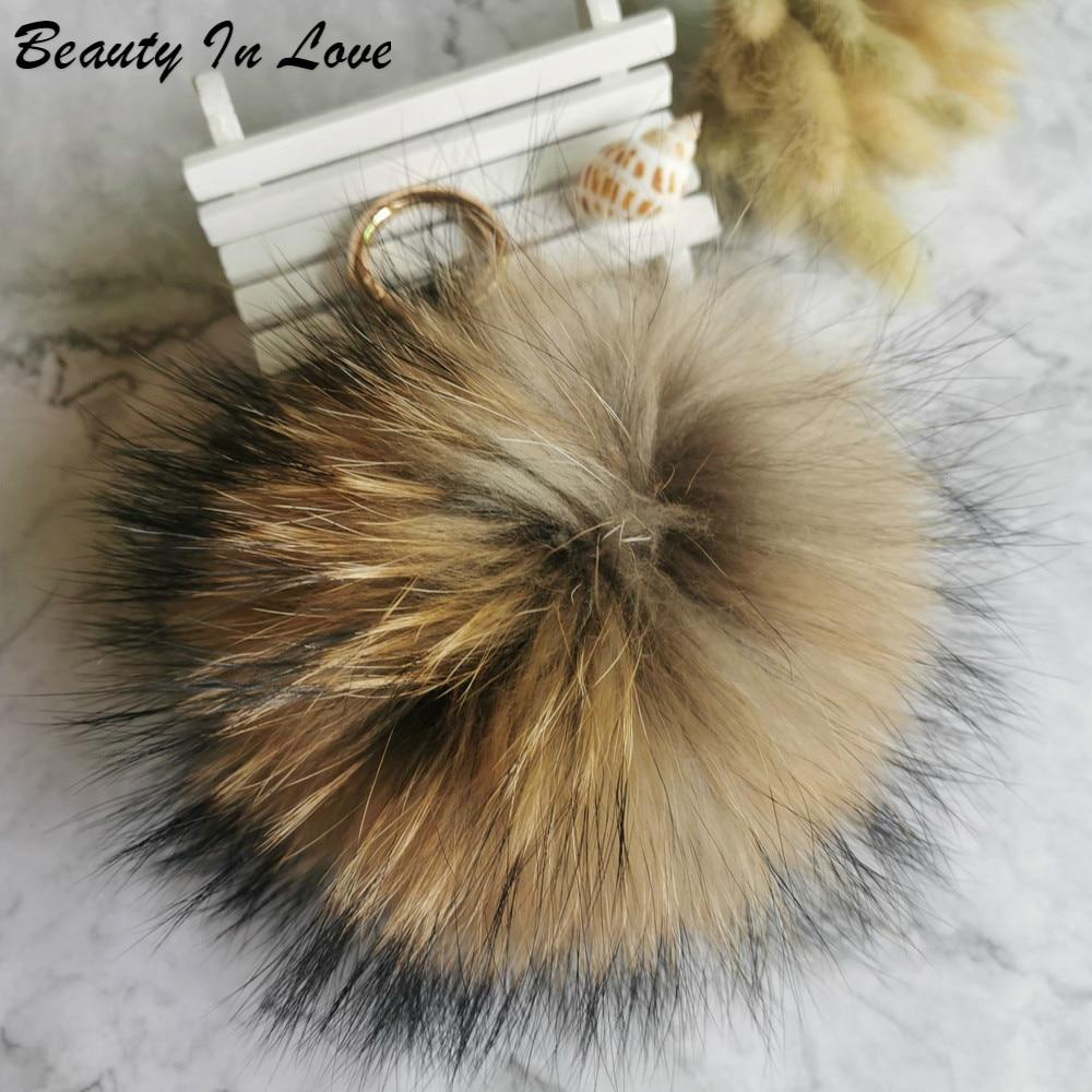 Bola de piel de zorro Real esponjosa grande de 15cm pompones pompón de piel Natural llaveros de cuero llavero con anilla colgante para mujeres encanto f278