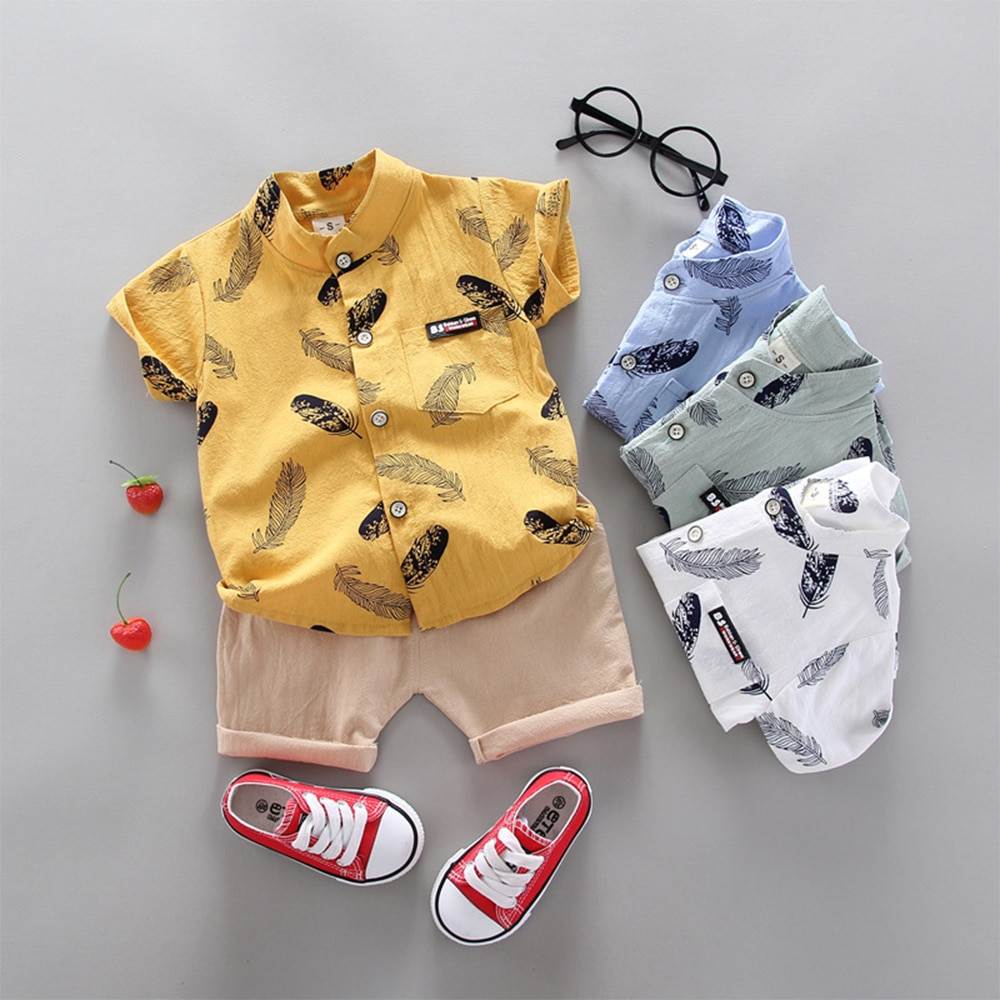 Baby Boys Clothes Set Kids Summer Costume Designer Cute Boutique Loungewear Free Shipping Outfits Yellow Short Shirt+Pants 2pcs