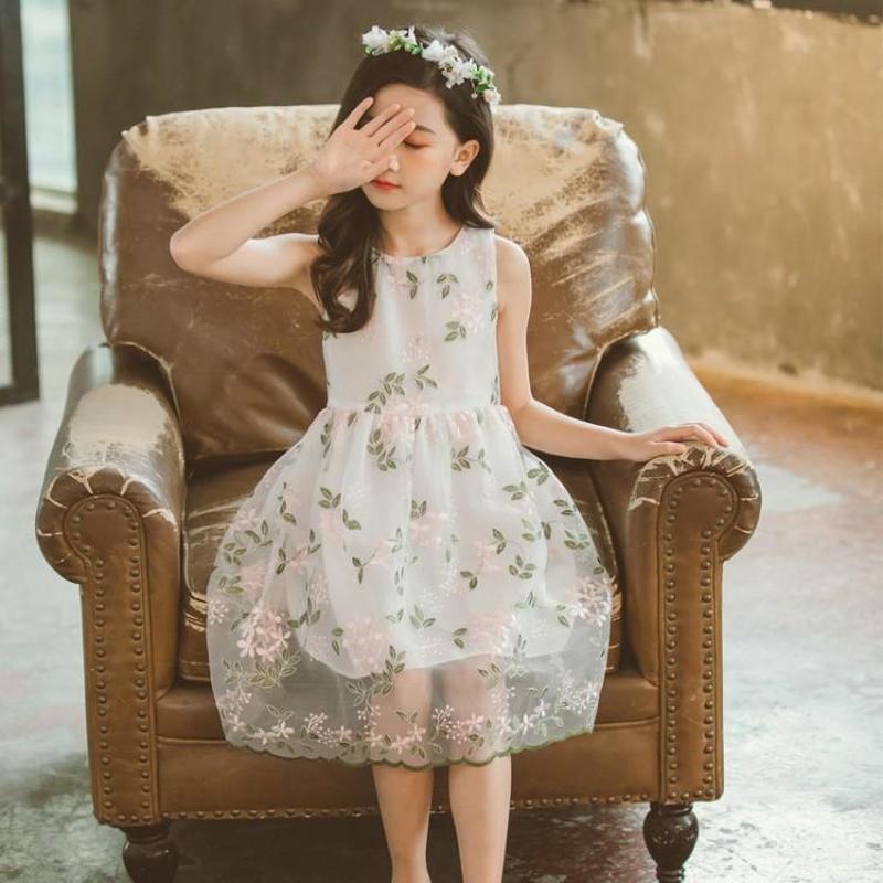 Girls Summer Dresses 2020 Size 8/9 Girls Summer Dress Embroidered Princess Dress Children Fashion Net Little Girl 8 Years Old