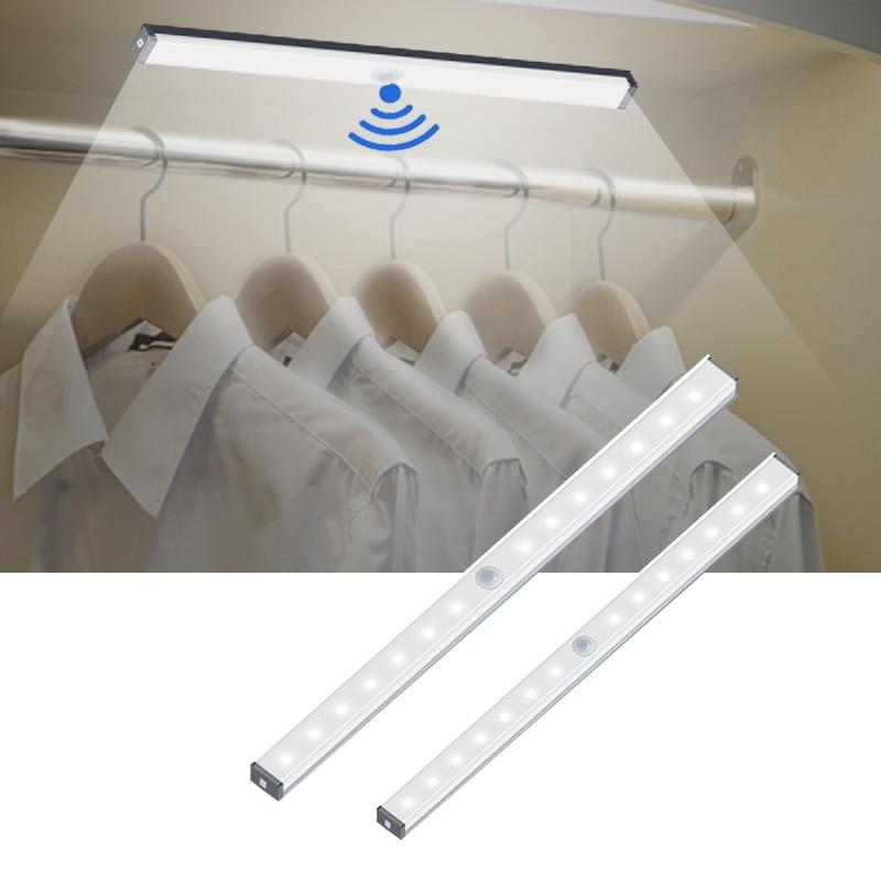 14 20 LED USB Charging Cabinet Light Magnetic Strip Closet Light Night Lamp With Motion Sensor For Kitchen Bedroom Home Lighting