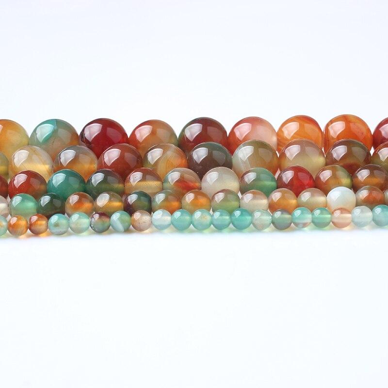 LingXiang piedras naturales Multicolor Pavo Real Agates cuentas redondas sueltas 4/6/8/10/12MM adecuado para DIY collar de pulsera femenina