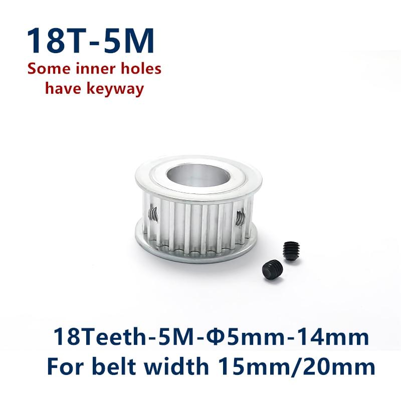 Diente de arco 18 dientes HTD 5M polea de sincronización sincrónica diámetro del agujero 5/6/6.35/8/10/12/14mm para ancho 15/20mm HTD5M rueda 18 dientes 18 T