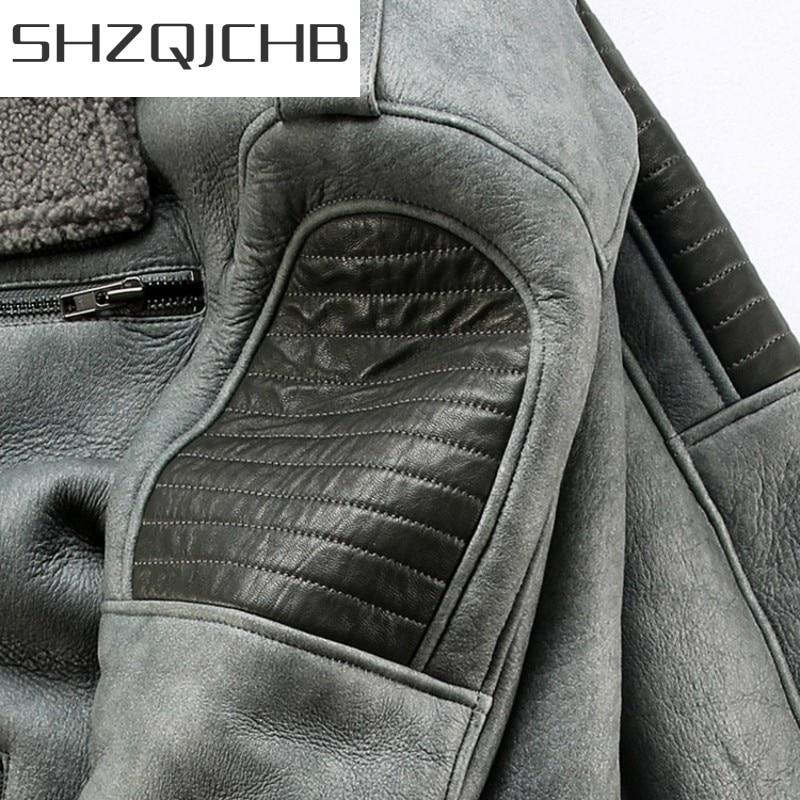 JCHB 2021 Winter Mens Thick Warm Sheepskin Genuine Leather Jacket Windbreaker Real Wool Lining Biker Coat Slim Natural Shearling