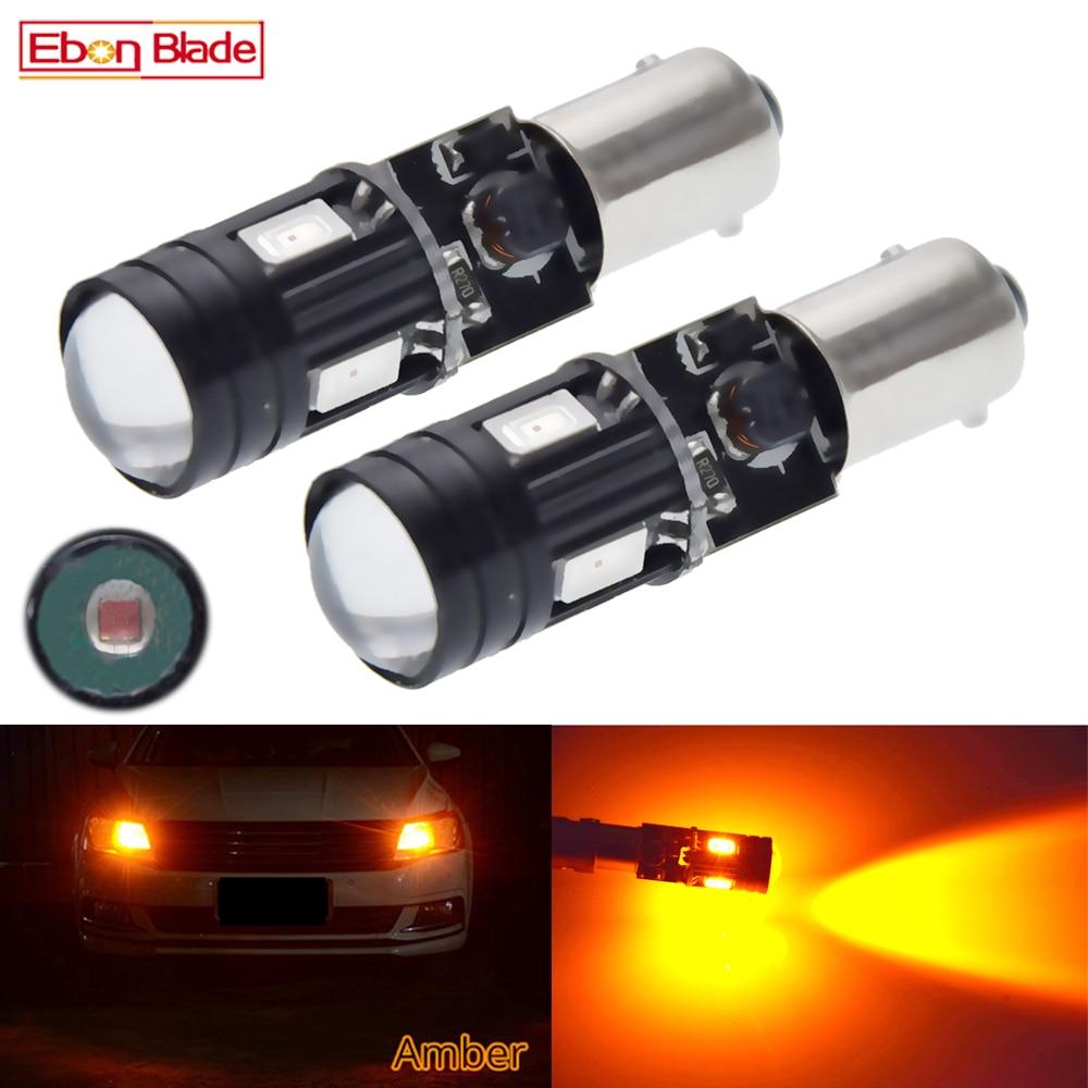 2 pçs laranja âmbar 4smd + xbd 5w canbus livre de erros ba9s baxter 9s bay9s luzes de estacionamento led t4w h6w h21w para a iluminação do carro 12v dc