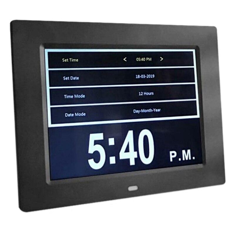 Reloj calendario con fecha Día Hora 8 pulgadas Led alarma de policía grande para Ancianos/Alzheimer y niños-enchufe negro Eu