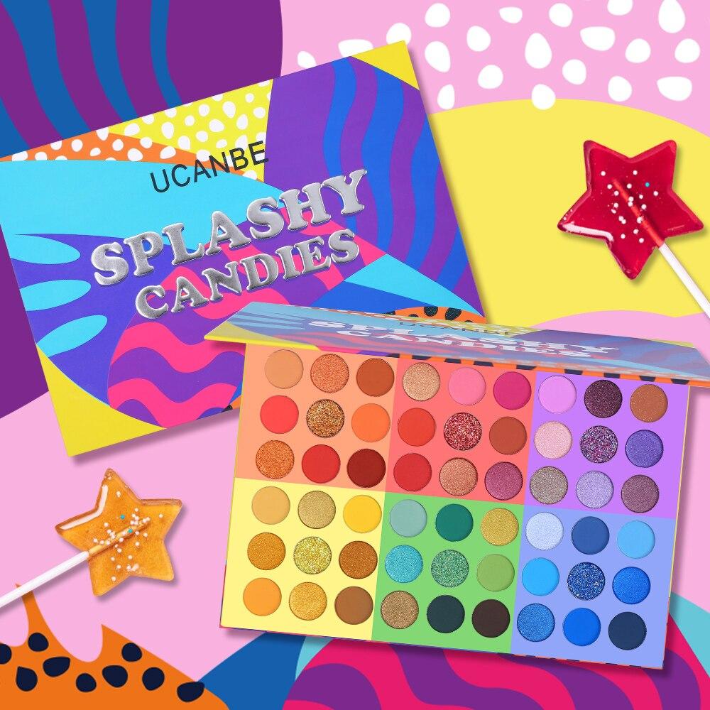 UCANBE-sombras de ojos 6 en 1, paleta de sombra de ojos en 54 colores, brillo mate brillante, aspecto veraniego, maquillaje de ojos