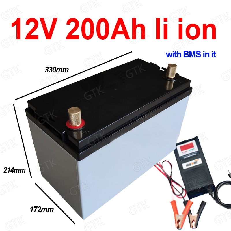 waterproof 12v 200Ah lithium ion battery 200Ah li ion with BMS for RV UPS inverter solar stem power supply cart + 10A Charger enlarge