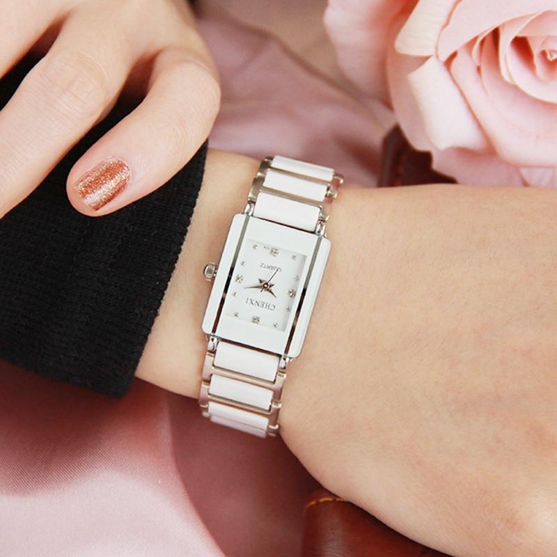 Luxury Brand CHENXI Elegant Women Watch Rhinestone White Silver Simple Stylish Ceramics Bracelet Quartz Casual Lady Wristwatch
