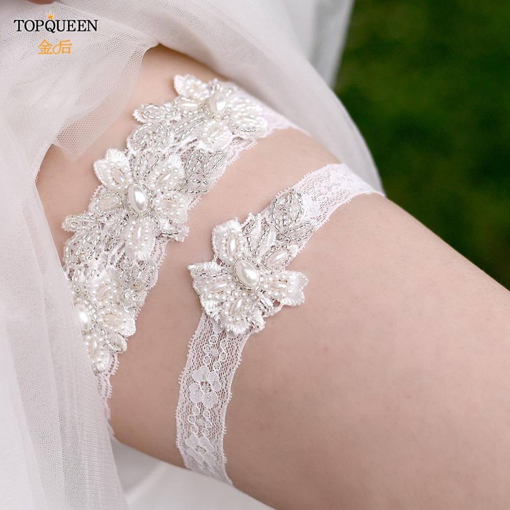 TOPQUEEN Elastic Lace Leg Garter Pearl Flower Bridal Garter Set Bride Wedding Accessories Bridal Cosplay Fashion Stocking TH40