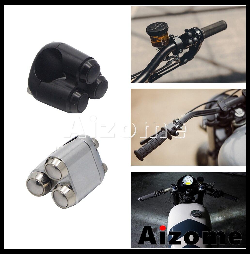 """22mm 25mm 1 """"7/8 pulgadas personalizado 3 botones interruptor de Control de mano caja de cambios botón para Harley Yamaha XS650 BMW R80 R100 R9T"""
