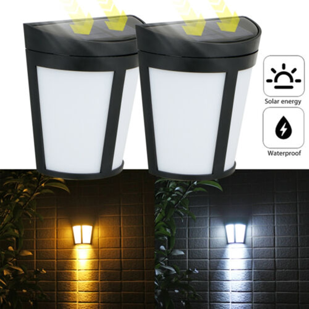 Solar wall lamp outdoor  solar LED waterproof lighting for deck fence terrace front door staircase landscape yard and driveway