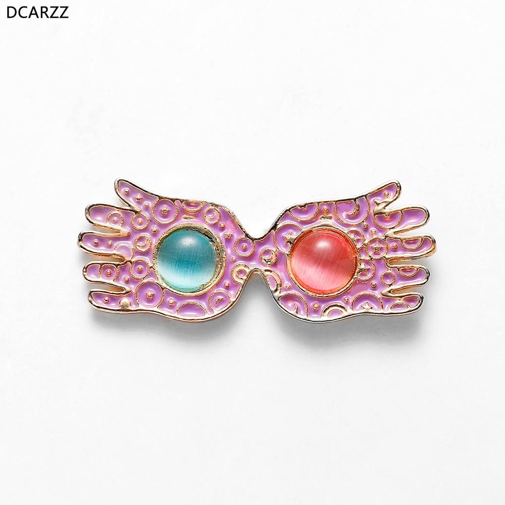 Luna Lovegood Glasses Pins Women Pink Enamel Brooch Opal Lapel Shirt Bag Badge Classic Jewelry Crystal Pin Best Friends Gift