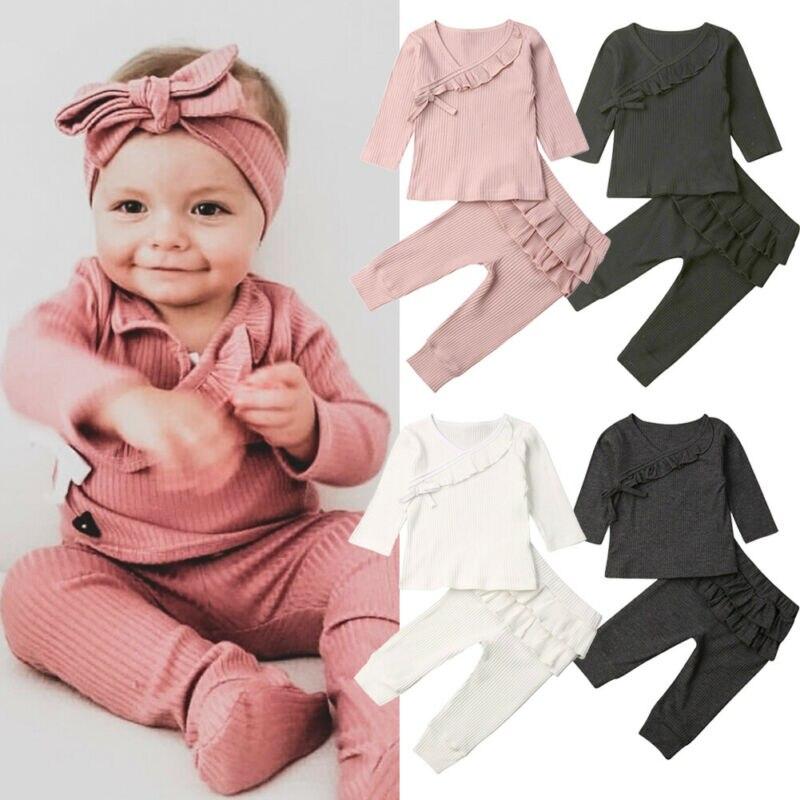 0-18 m bebê recém-nascido menino menina manga longa cor sólida algodão camiseta topos babados calças longas 2 pçs roupas de outono