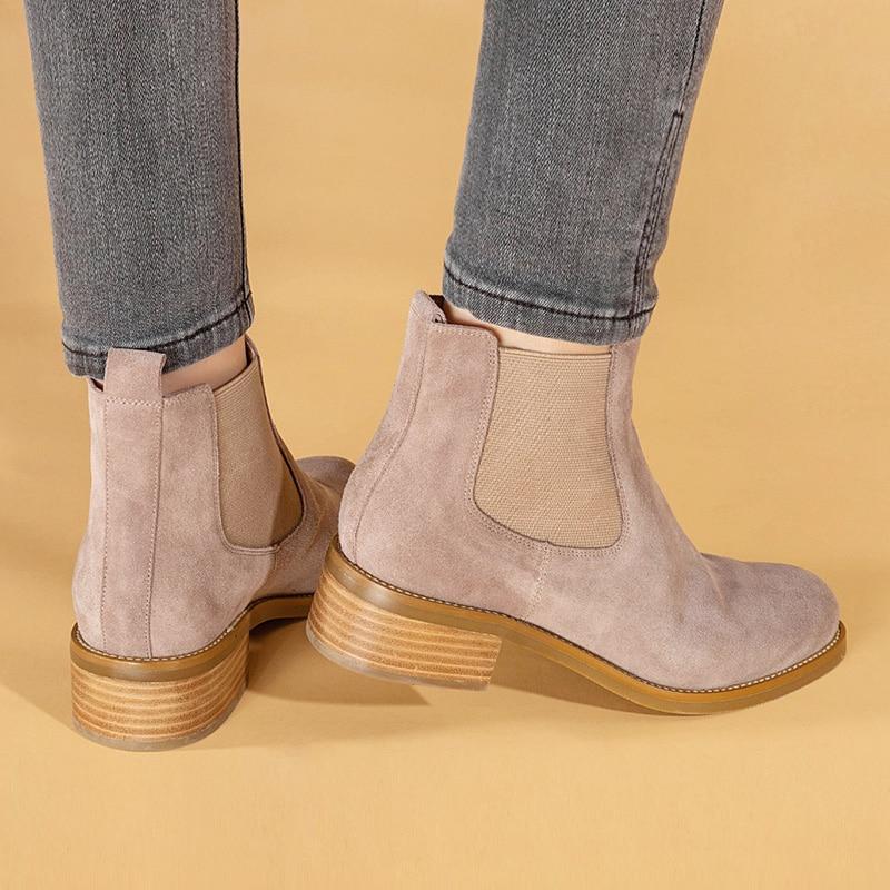 Donna-in Herbst Neue Echtem Leder Frauen Chelsea Stiefel Runde Kappe Mitte Ferse Casual Frauen Schuhe Slip-On solide 2020 Botas de mujer