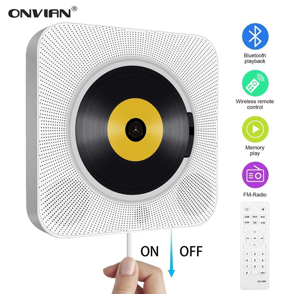 Onفيان-مشغل CD مثبت على الحائط ، صوت محيطي ، راديو FM ، بلوتوث ، USB ، قرص MP3 ، مشغل موسيقى محمول ، جهاز تحكم عن بعد ، سماعة ستيريو