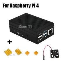 Nueva carcasa de Metal de aleación de aluminio con ventilador de refrigeración disipadores de calor para Raspberry Pi 4 Modelo B