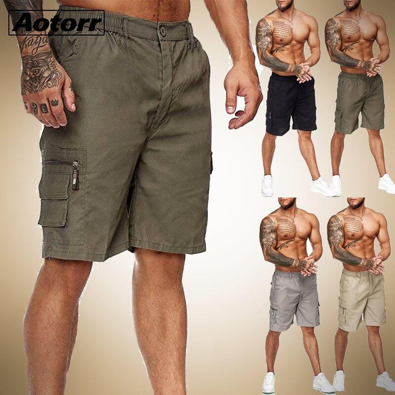 Hommes chauds mince Fitness couleur unie Shorts décontracté fermeture éclair poche travail uniforme pantalon été plage coton Baggy pantalon pantalon court