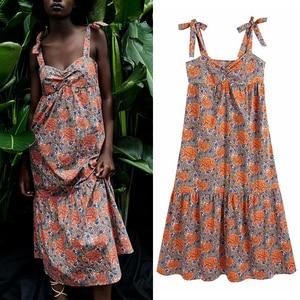 Dress 2021 summer new ZA fashion retro strap printing tube top women dress fashion chic casual street youth women dresss