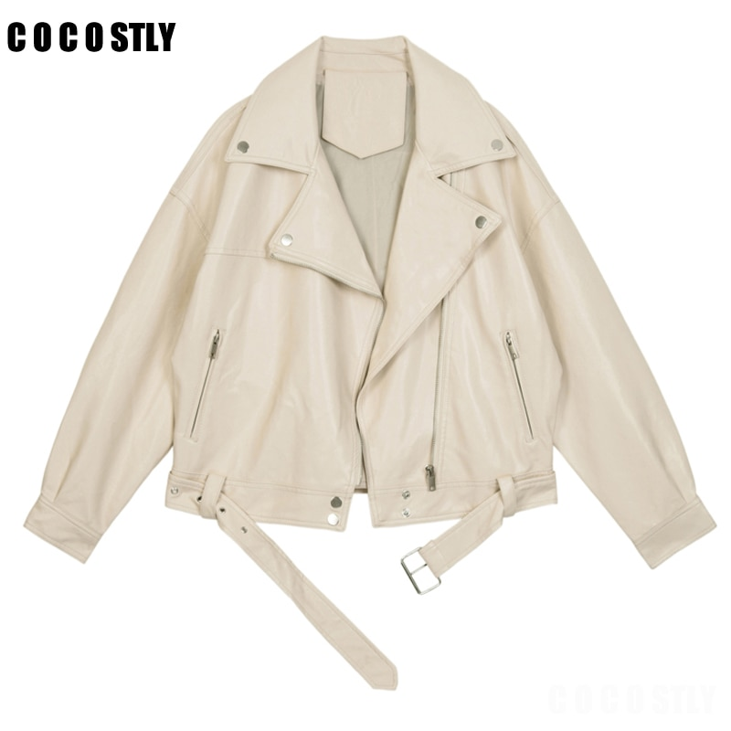 Chaqueta de cuero sintético para mujer, abrigo con cremallera de solapa, cinturón...