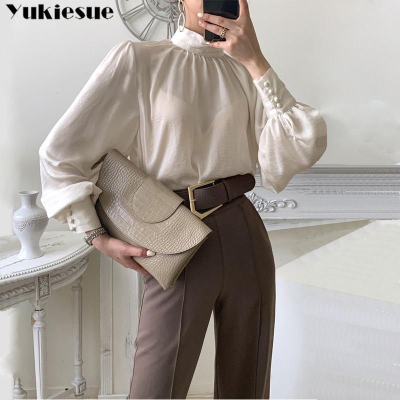 Vintage Lantern Sleeve Blouses Shirts Women blouse woman Stand Collar Loose Female Shirts Tops 2021