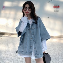 Half Sleeve Denim Jacket for Women Korean Style Loose Ins Trendy Spring 2021 New All-Matching BF Sty