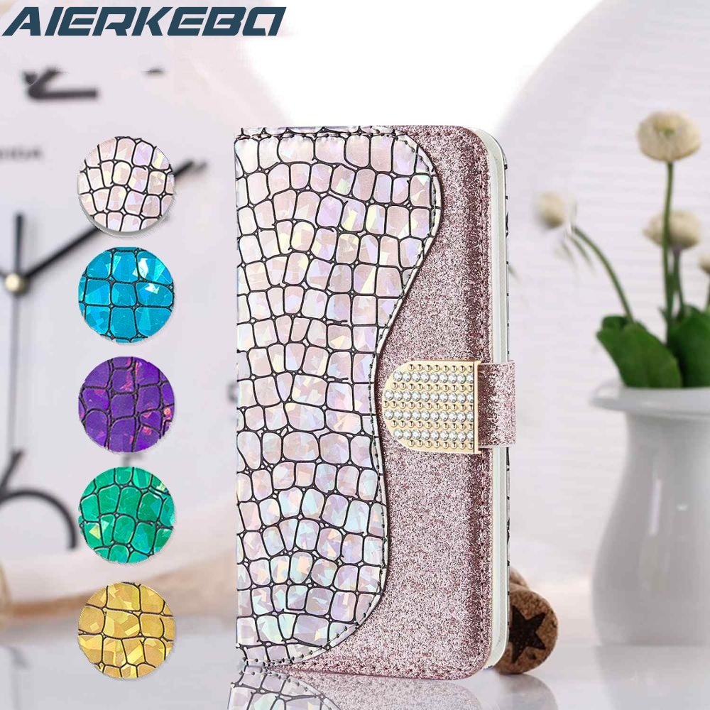 Funda de cuero con purpurina de diamante para Huawei P Smart + P40 P30 P20 Lite Pro Y5 Y6 2019 Honor 8A 7A Nova 3i 3E 4E, funda de cartera para chica