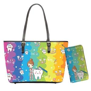 Colorful 2pcs/set Handbags Rainbow Fairy Dentist Design Brand PU Shoulder Bags for Women Large Capacity Totes Purses