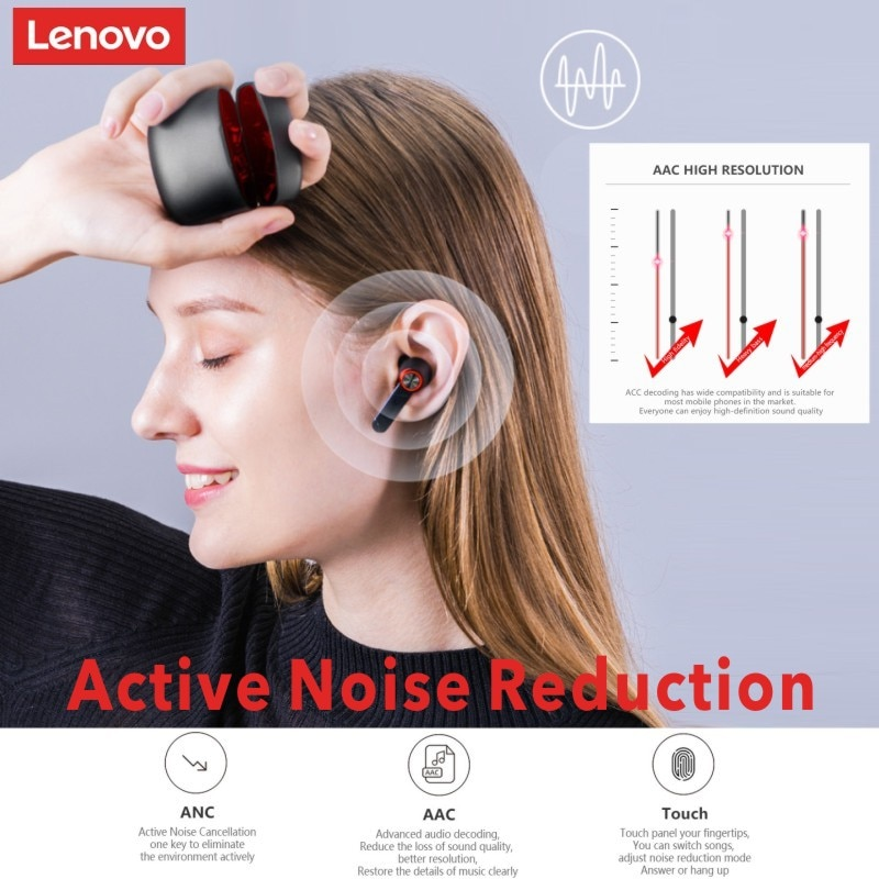 NEW Lenovo HT78 ANC Active Noise Reduction 20-23dB TWS Wireless Bluetooth Gaming Headset Touch Contr