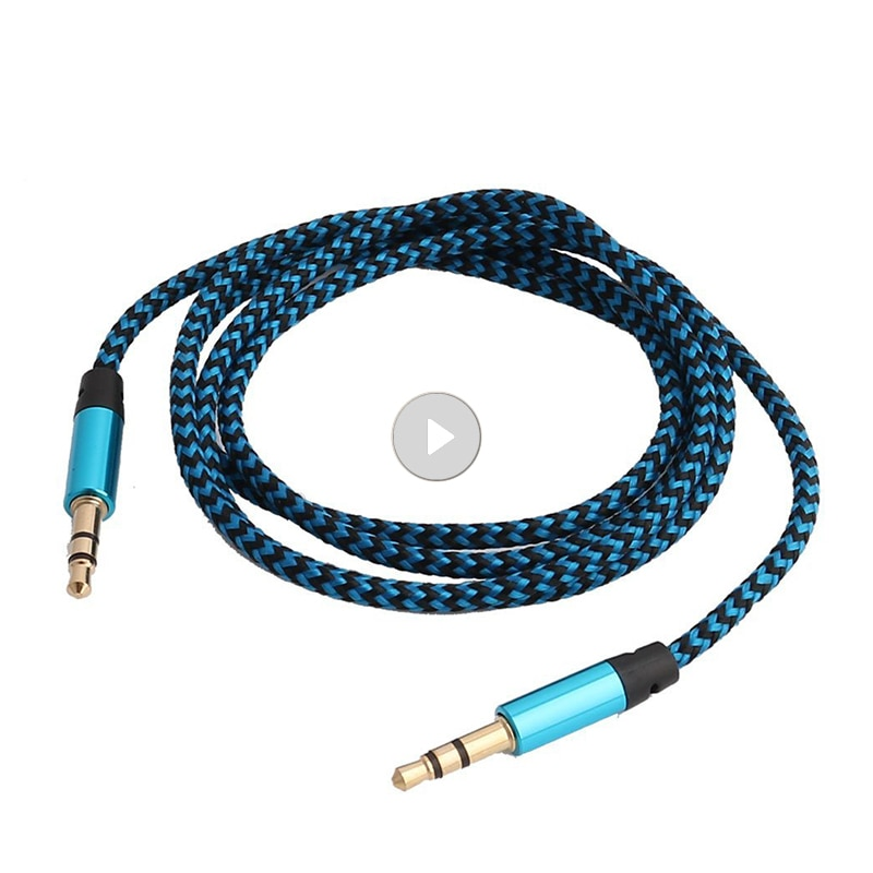 Cable auxiliar de nailon de 1m para coche, conector de Audio de...
