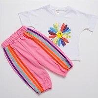 summer suit girl sets girls clothes sets for girls kids clothing kids suits for the summer printed short sleeved sport suit