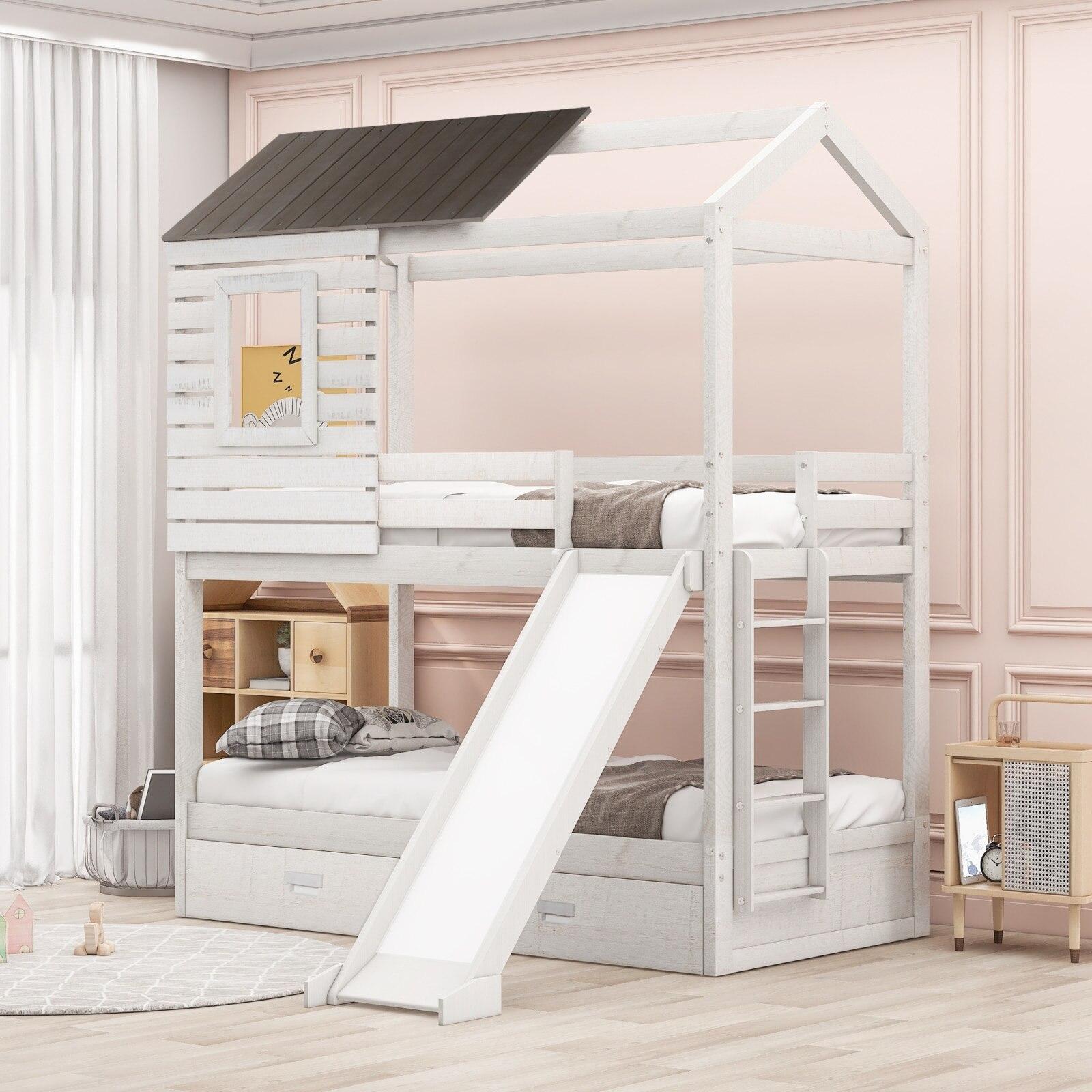 التوأم على سرير بطابقين التوأم مع اثنين من أدراج التخزين والشرائح على شكل منزل سرير خشبي بدورين سرير بطابقين للأطفال المراهقين